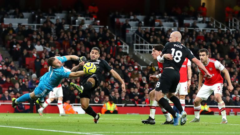 Neal Maupay was a constant threat against Arsenal