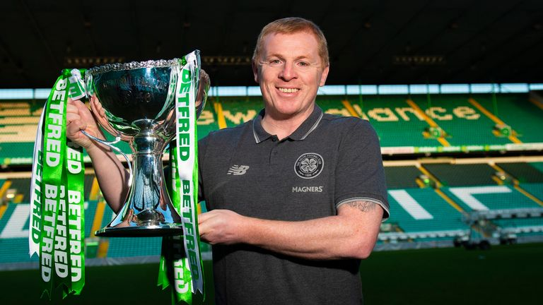 Celtic manager Neil Lennon with the Betfred Scottish League Cup trophy at Celtic Park