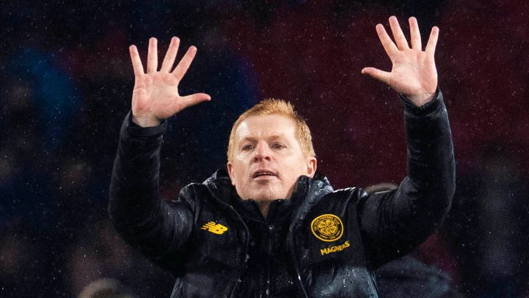 Celtic manager Neil Lennon celebrates after the Scottish League Cup Final between Rangers and Celtic, at Hampden Park