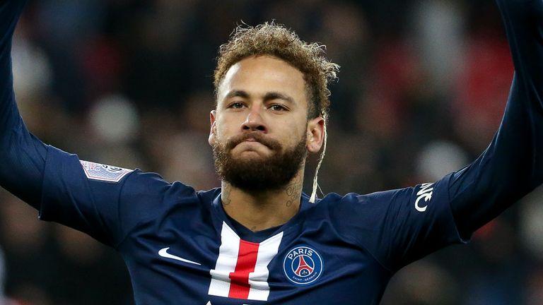 Neymar celebrates his goal during Paris Saint-Germain's convincing win