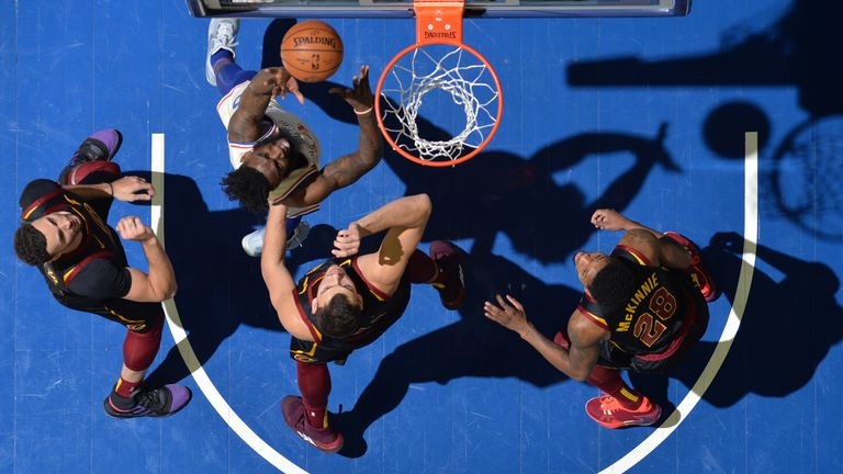 Norvel Pelle of the Philadelphia 76ers shoots the ball against the Cleveland Cavaliers