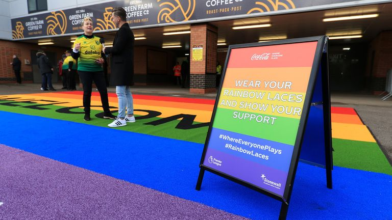 NORWICH, ENGLAND - DECEMBER 08: A sign in support of the Stonewall Rainbow Laces campaign is displayed outside the stadium prior to the Premier League match between Norwich City and Sheffield United at Carrow Road on December 08, 2019 in Norwich, United Kingdom. (Photo by Stephen Pond/Getty Images)