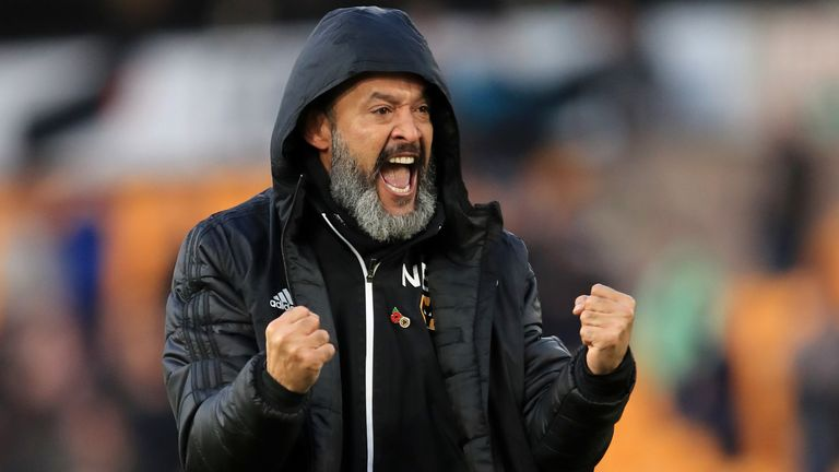 Nuno Espirito Santo, Manager of Wolverhampton Wanderers celebrates following his sides victory in the Premier League match between Wolverhampton Wanderers and Aston Villa at Molineux on November 10, 2019 in Wolverhampton, United Kingdom.