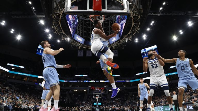 Josh Okogie of the Minnesota Timberwolves drives to the basket during a game against the Memphis Grizzlies