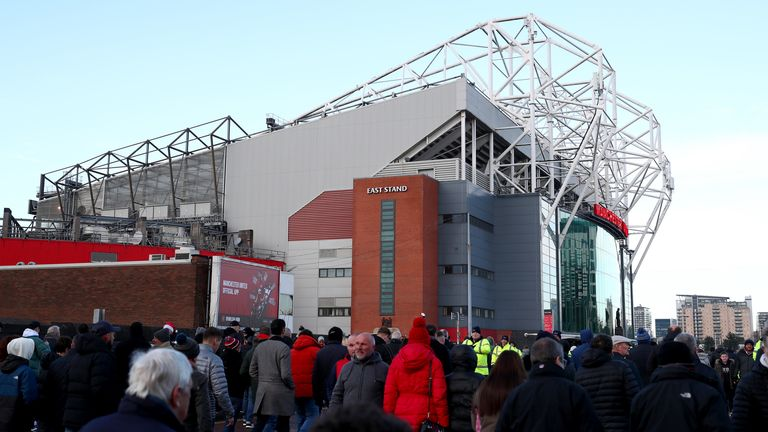 General view outside Manchester United's Old Trafford stadium
