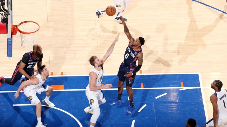 Elfrid Payton of the New York Knicks shoots the ball during a game against the Indiana Pacers