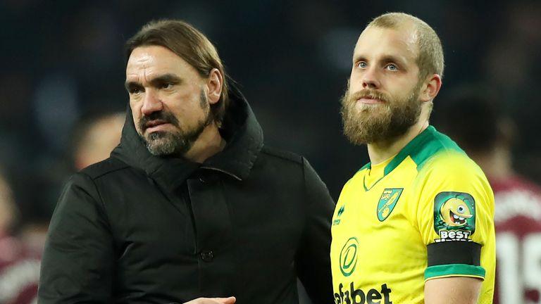 Norwich's Daniel Farke and Teemu Pukki look stunned following their defeat at Aston Villa.