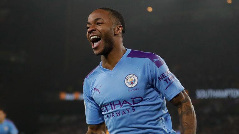 Raheem Sterling celebrates scoring for Manchester City vs Wolves