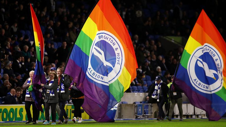 BRIGHTON, ENGLAND - DECEMBER 08: Stonewall Rainbow laces flags are seen prior to the Premier League match between Brighton & Hove Albion and Wolverhampton Wanderers at American Express Community Stadium on December 08, 2019 in Brighton, United Kingdom. (Photo by Bryn Lennon/Getty Images)