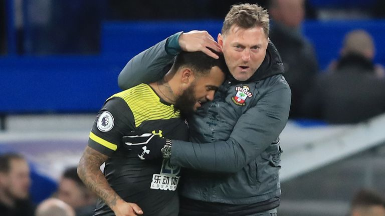 Ralph Hasenhuttl celebrates with Ryan Bertrand