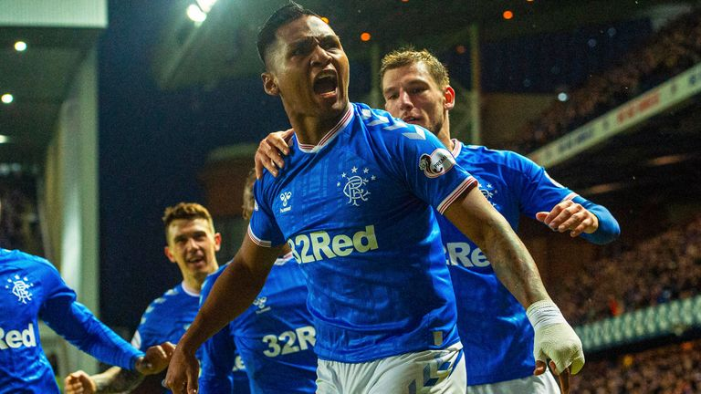 Alfredo Morelos celebrates after scoring the only goal of the game against Kilmarnock on Boxing Day