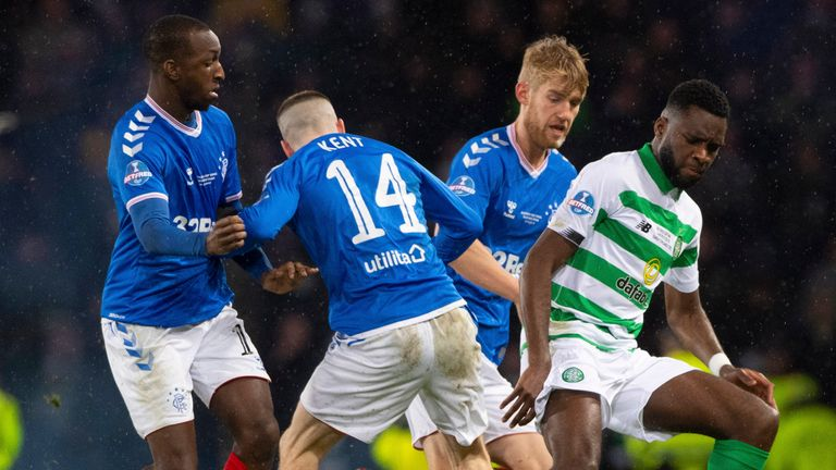 Celtic's Odsonne Edouard holds off Rangers' Filip Helander and Ryan Kent during the Betfred Cup Final between Rangers and Celtic,