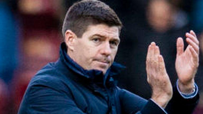 Steven Gerrard applauds the travelling Rangers fans at Fir Park