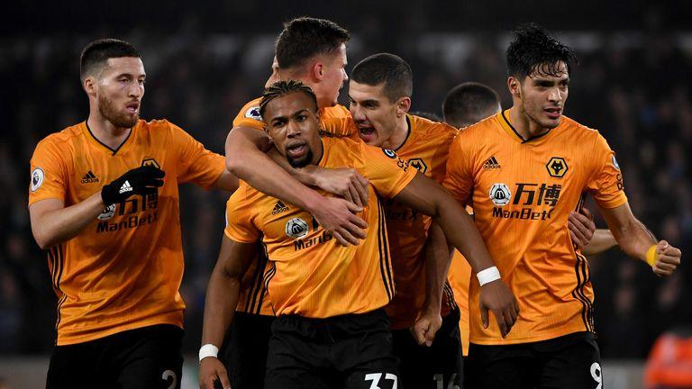 Raul Jimenez celebrates scoring for Wolves against Man City