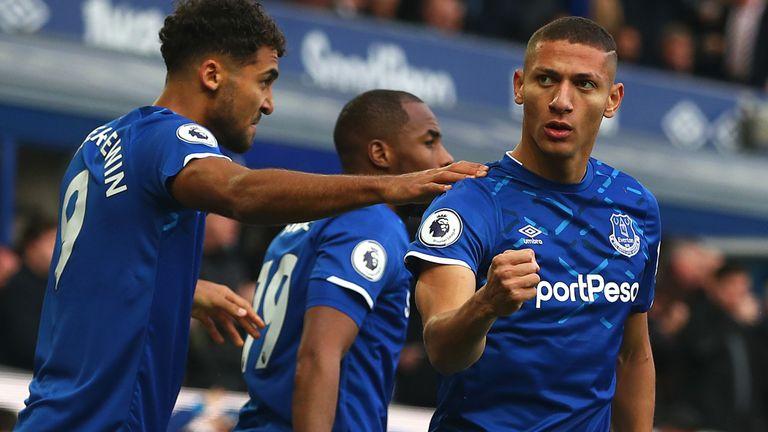 Richarlison celebrates scoring the opening goal during Everton vs Chelsea