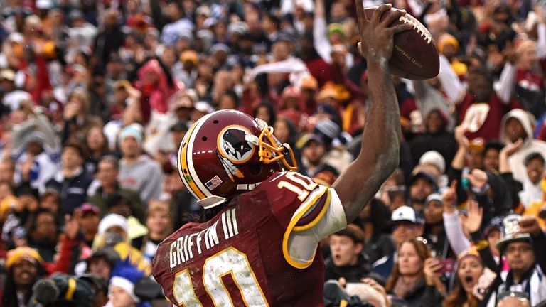 Griffin became the first rookie in NFL history to throw for 200 yards and four touchdowns as well as rushing for more than 75 yards in a game while playing for the Redskins