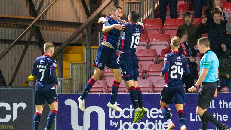 Ross County's Ross Stewart celebrates with team-mates after scoring against Hibs