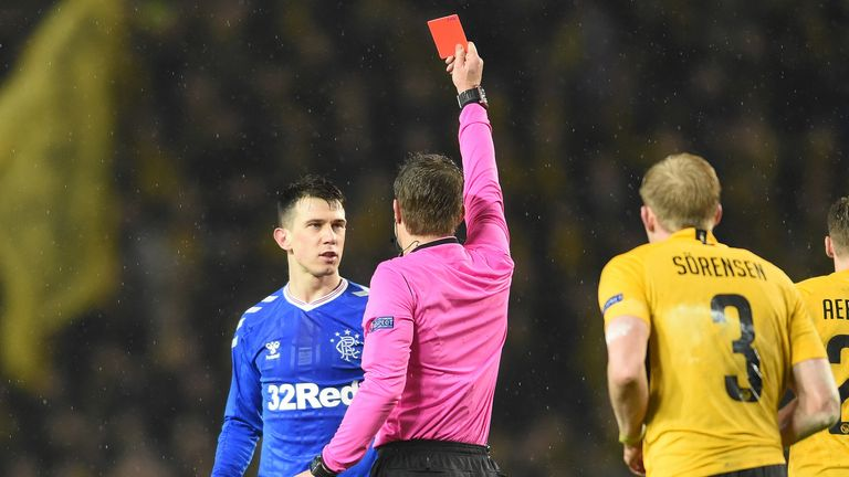 Ryan Jack was sent off for two yellow cards