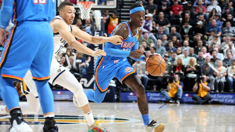 Dennis Schroder of the Oklahoma City Thunder handles the ball during the game against the Utah Jazz