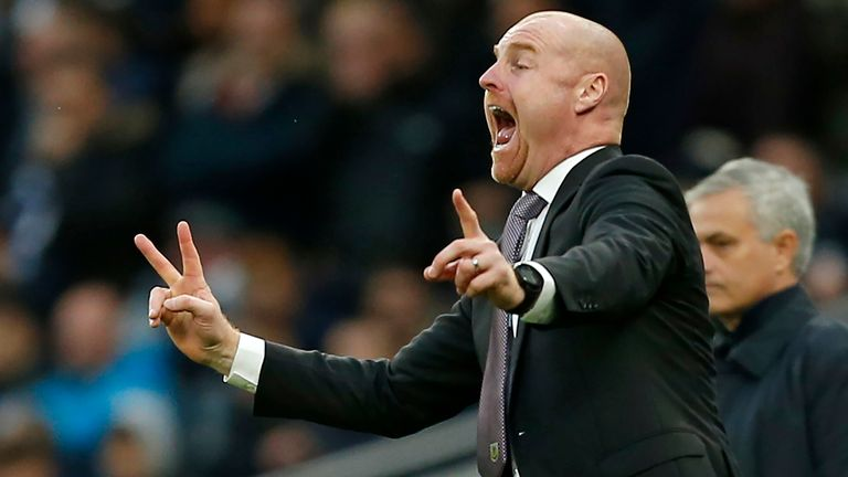 Burnley boss Sean Dyche shouted instructions during their 5-0 defeat to Tottenham