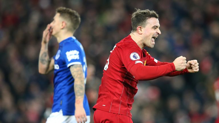 Xherdan Shaqiri scored against Everton in his first Premier League start since January