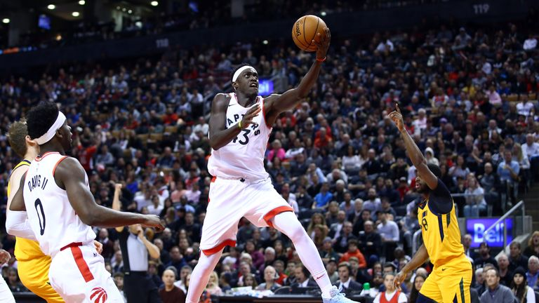 Pascal Siakam of the Toronto Raptors shoots the ball during the first half of an NBA game against the Utah Jazz