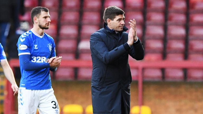 MOTHERWELL, SCOTLAND - DECEMBER 15:  Rangers manager Steven Gerrard at full-time of the Ladbrokes Premiership match between Motherwell and Rangers at Fir Park, on December 15, 2019, in Edinburgh, Scotland. (Photo by Paul Devlin / SNS Group)