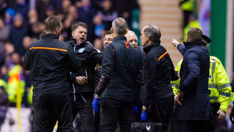 Steven Gerrard's angry reaction to Porteous' challenge set off a scuffle on the touchline