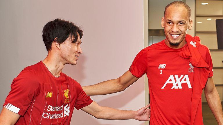 Takumi Minamino meets new Liverpool team-mate Fabinho
