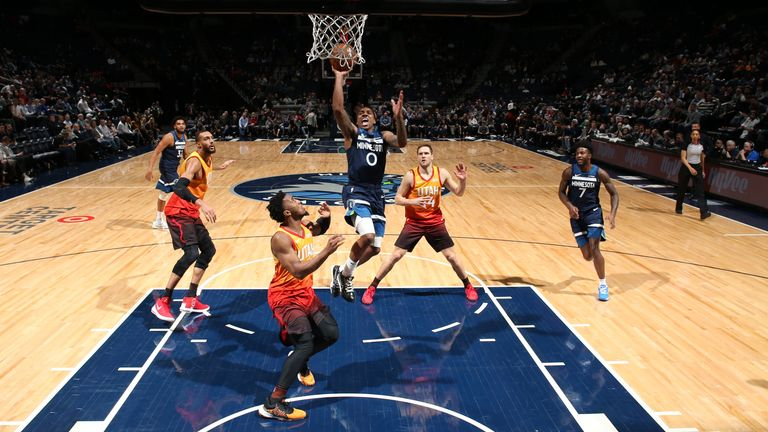 Jeff Teague of the Minnesota Timberwolves shoots the ball against the Utah Jazz