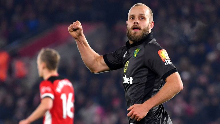 Teemu Pukki pumps his fist in celebration after scoring for Norwich