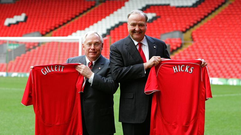 American businessmen George Gillett and Tom Hicks talk to the media after their takeover of Liverpool Football Club