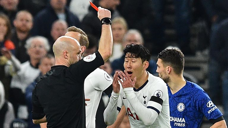 Heung-Min Son was sent off by referee Anthony Taylor versus Chelsea
