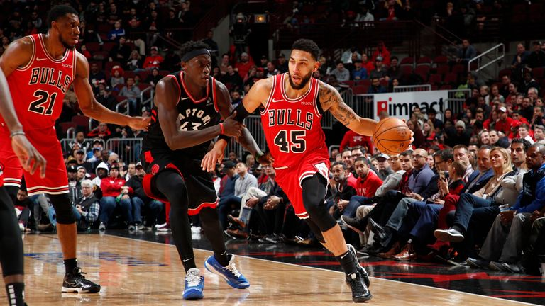 Denzel Valentine of the Chicago Bulls handles the ball against the Toronto Raptors