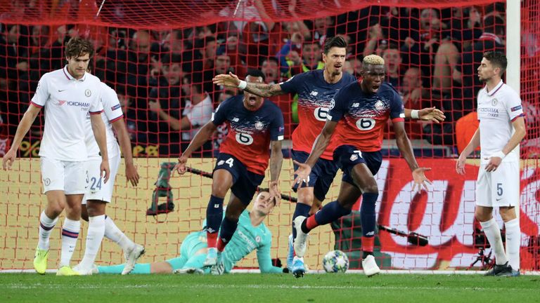 Victor Osimhen #7 of Lille celebrates his goal against Chelsea
