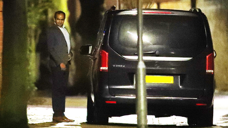 Arsenal chief executive Vinai Venkatesham leaving Mikel Arteta's Manchester home in the early hours of Monday morning.