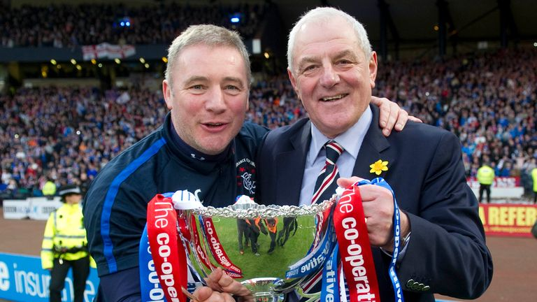 Walter Smith and then-assistant Ally McCoist celebrate Rangers' League Cup final win in 2011
