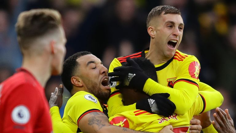 Watford secured a vital 2-0 win over Manchester United at Vicarage Road