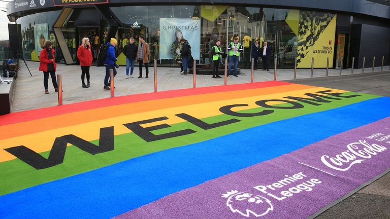 WATFORD, ENGLAND - DECEMBER 07: Support for the Rainbow Laces Campaign is seen outside the stadium ahead of the Premier League match between Watford FC and Crystal Palace at Vicarage Road on December 07, 2019 in Watford, United Kingdom. (Photo by Marc Atkins/Getty Images)