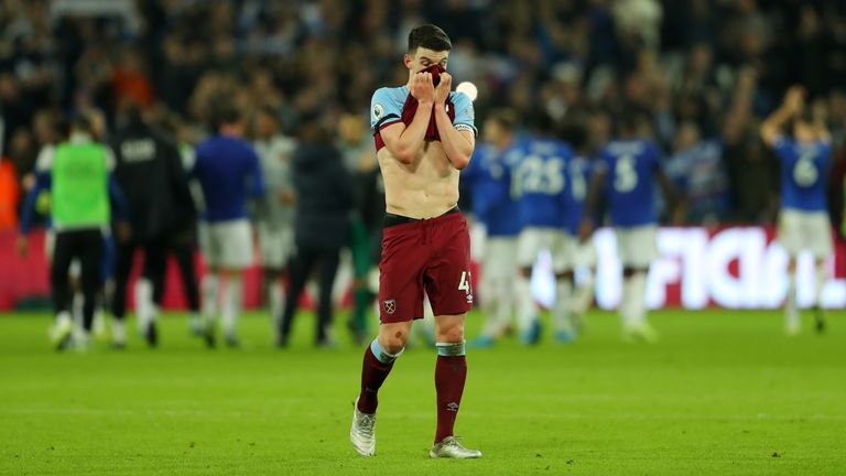 Declan Rice shows his frustration after West Ham's defeat to Leicester
