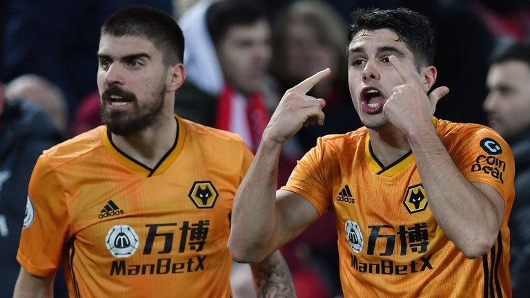 Wolves protest during their Premier League game against Liverpool