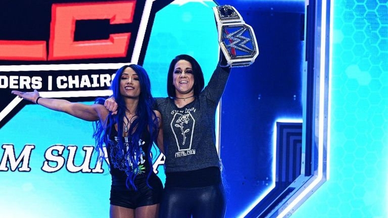 After quickly dispatching a local competitor, The Lady of WWE embarrasses The Boss by feigning A Woman's Right, but Bayley blindsides Evans to even the score for Banks.