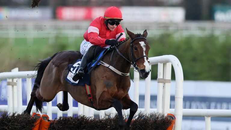 Stormy Ireland, ridden by Paul Townend, races clear of the last