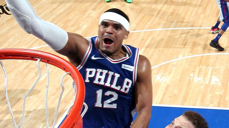 Tobias Harris attacks the basket against Detroit