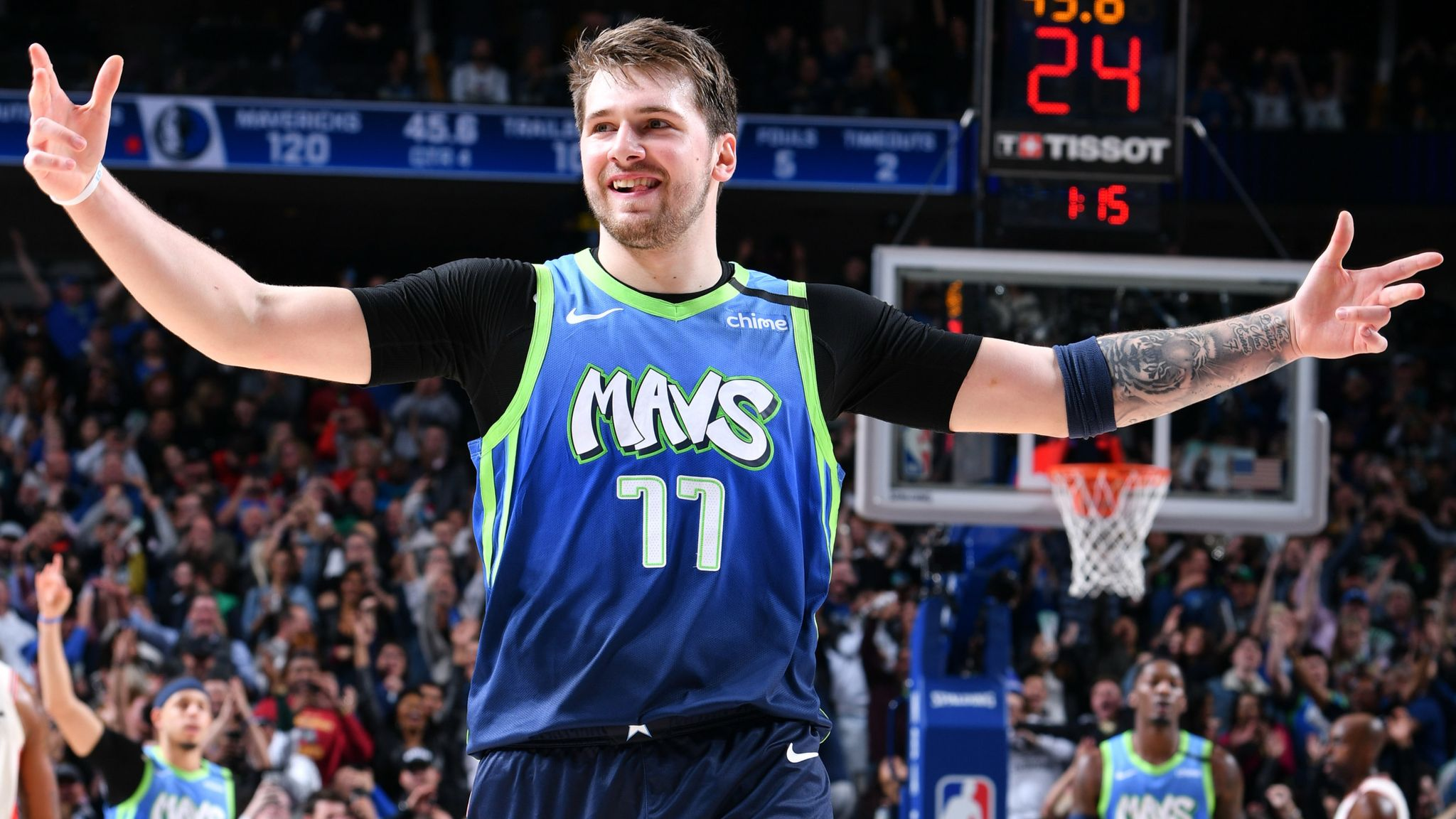 Luka Doncic posts new career-high in three-pointers made as Dallas Mavericks roll Portland Trail Blazers