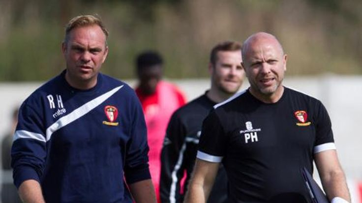 Ritchie Hanlon and Paul Hughes at training with Hayes and Yeading