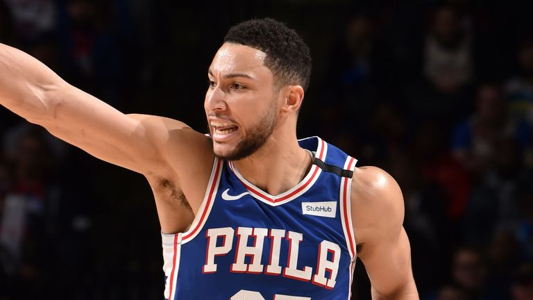 Ben Simmons salutes the crowd during Philadelphia's victory over Oklahoma City