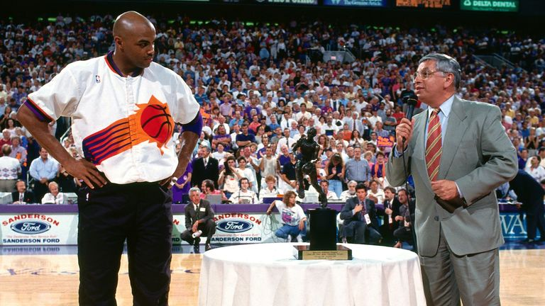 David Stern presents Charles Barkley with the 1993 regular season MVP award