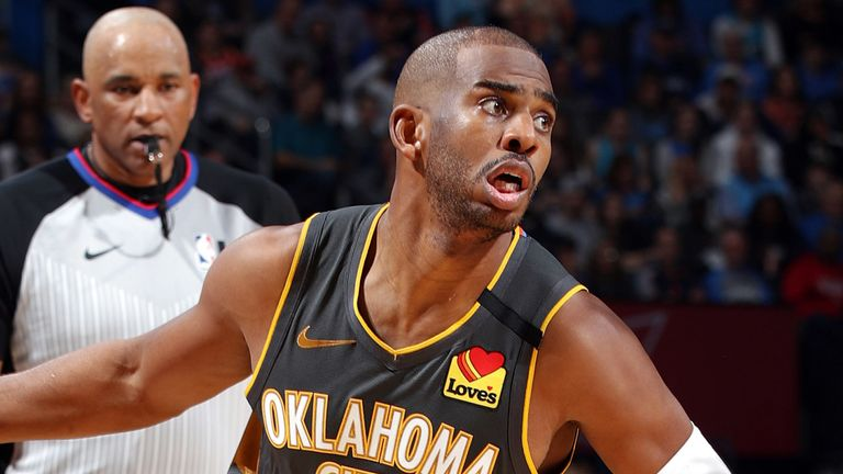Chris Paul in action in the Thunder's win over the Rockets