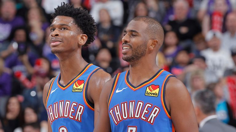 Shai Gilgeous-Alexander and Chris Paul in action for the Oklahoma City Thunder